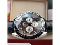 Rossco's Watches. Omega Speedmaster Professional Snoopy Edition. Brown Face, Black Leather Strap