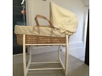 Mamas and Papas Moses basket and stand.