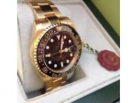 White's Watches - New Rolex GMT-Master 2 , Gold Bracelet, Black Face, COMPLETE PACKAGE