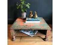Low Indian Coffee Table Magazine Shelf, Carved Painted Wood, Ornate Rustic Boho