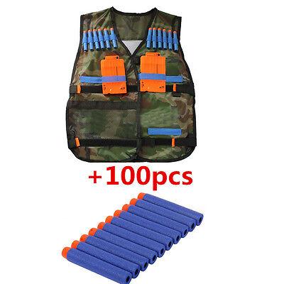 Tactical Vest with Storage Pocket +100pcs Refill  Gun Bullet for NERF N-Strike