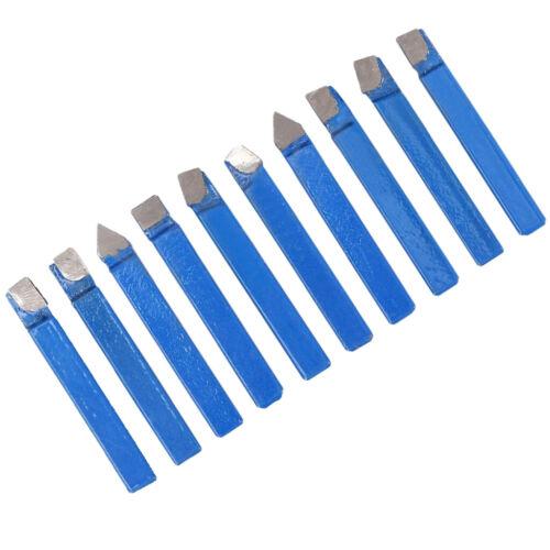 10x Carbide-Tipped Tool Bit Sets Lathe Turning Tool Sets 1:4