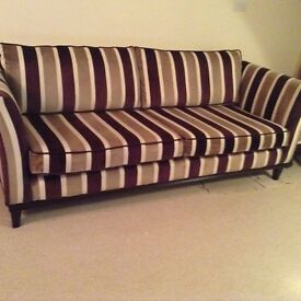 FOR SALE Hudson three and a half seater burgundy, mauve,cream and brown stripe settee