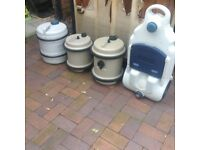 Few water carriers and waste for caravans or campers look