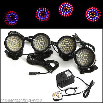 Fountain Aquarium Underwater Fish Tank Pool Pond with 4x36 Leds Colorful lights