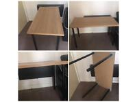 Work Cut Table adjustable heights black dining compact space saver beige metal legs