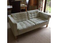 Two-seater sofa, white leather, IKEA