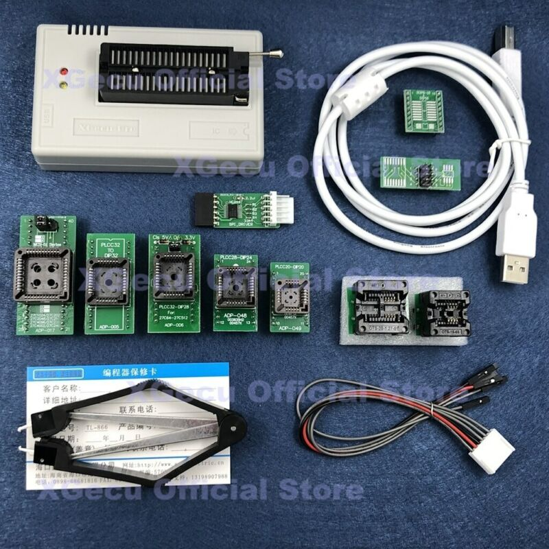 XGecu TL866II Plus Programmer EEPROM MCU PIC...+10 adapter with Black ZIF socket