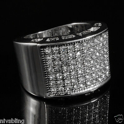 14k White Gold Plated Band Micropave CZ AAA Crystal Men