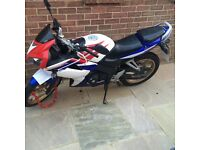 honda cbr 125, red white and blue, mot until Sept 2017, new tyres and battery