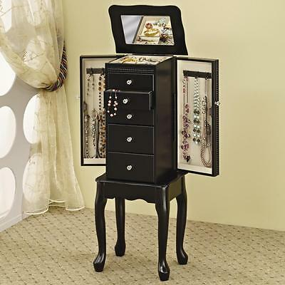دولاب جديد Black Finish Queen Anne Style Jewelry Storage Armoire by Coaster 900139