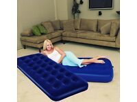 INFLATABLE FLOCKED SINGLE DOUBLE AIR BED CAMPING MATTRESS AIRBED WITH PUMP