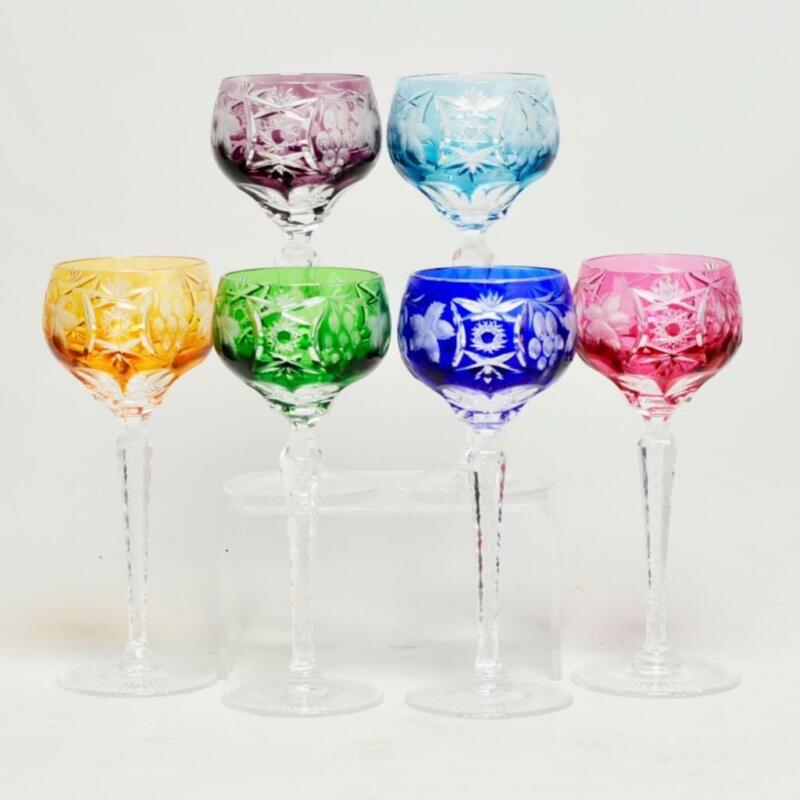 """SET OF SIX (6) VINTAGE CUT TO CLEAR & ETCHED BOHEMIAN WINE GLASSES, 8"""" WOW!"""