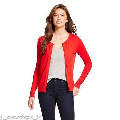 Merona Women's Favorite Cardigan Sweater Crew Neck Long Sleeve - Red - NEW NWT Crew Long Sleeve Cardigan
