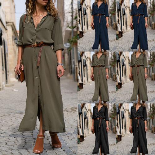 Damen Sommerkleid V-Ausschnitt Knopf Gürtel Freizeit Strand Kleider Maxikleider