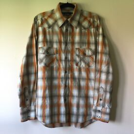 TED BAKER CASUAL/SMART CHECK PATTERN ORANGE SHIRT SIZE M EXCELLENT CONDITION!