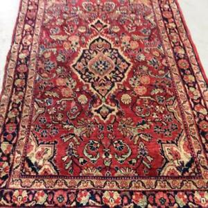Mahal Antique Persian Rug , Handmade Carpet, Wool, Red, Black, Blue, Beige Size: 6.7 X 4.1 ft