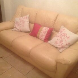 Cream leather 2 & 3 seater sofas in good condition £70
