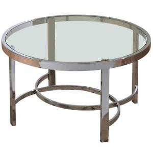 ROUND GLASS COFFEE TABLE | COFFEE TABLE FOR SALE (WO2300)