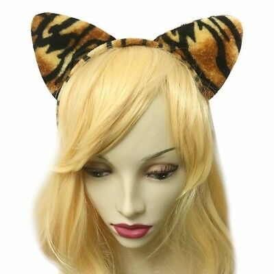 Girls Sexy Leopard Tiger Cat Ear Hair Headband Dance Party Nightclub Halloween - Leopard Halloween Hair