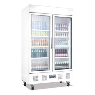 Two Door Upright Display Cabinet 944Ltr White
