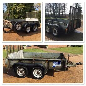 Twin Axle Spring Loaded Drop Tailboard Ifor Williams Plant / Multi Purpose Trailer - 8ft x 5ft
