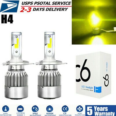 2x H4 9003 HB2 3000K LED Headlight Hi-Low Beam Bulbs Conversion Kit Yellow CREE ()