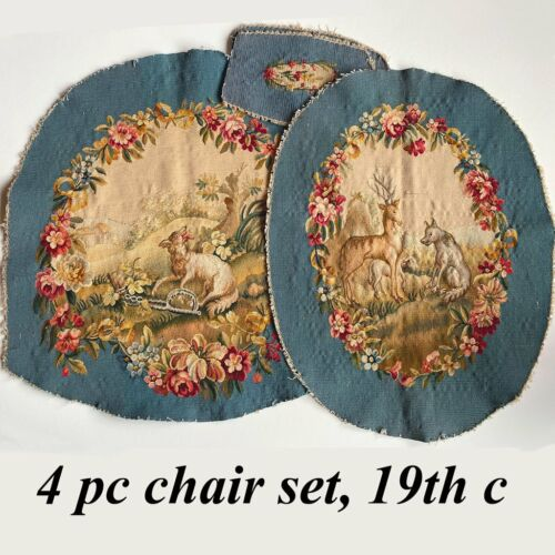 Antique French 19th c. Beauvais or Aubusson Tapestry Panels, Chair, Pillow, Hunt