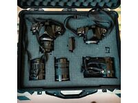 PENTAX 6X7 MEDIUM FORMAT PROFESSIONAL CAMERA KIT: 2 BODIES (1 NOT WORKING), 3 LENSES (75 105 165)