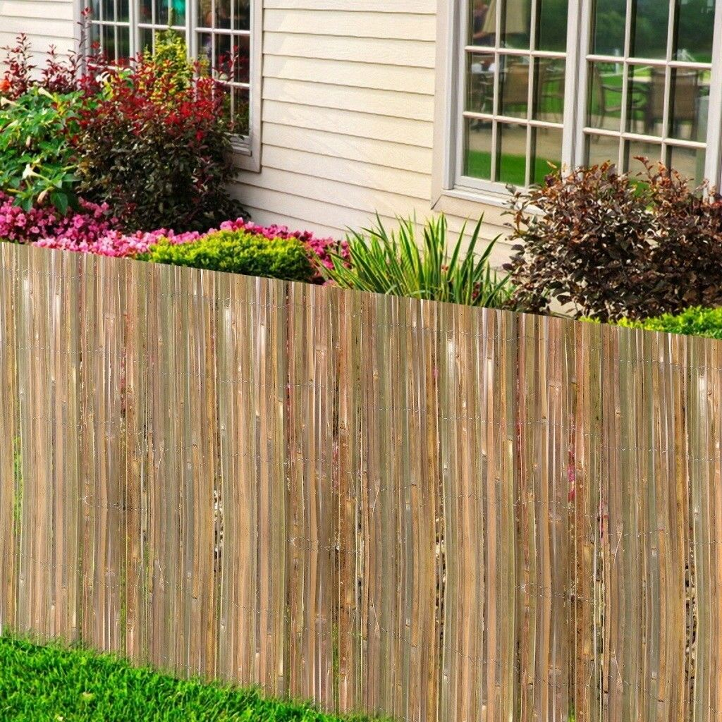 Bamboo Slat Garden Divider Screening Border Outdoor Fencing Panels ...
