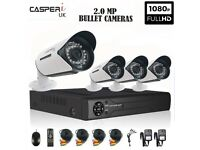 CASPERi 2.0MP Outdoor Night Vision Wide-Angle Bullet Cameras with 8 CH DVR