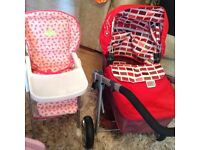 Mamas and Papas dolls pram and Silver Cross dolls highchair