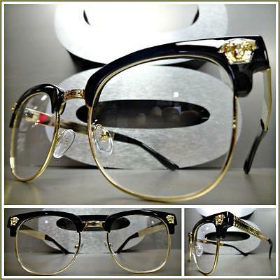 Men Women VINTAGE RETRO Style Clear Lens EYE GLASSES Black & Gold Fashion Frame