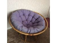 Cane chair with loose cushion