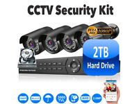 2TB Full HD CCTV Security Camera System Kit. 4x Full HD 1080p Cameras, 8Ch Full HD 1080p DVR