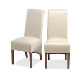 """"""" Taj solid sheesham furniture set of two cream leather dining chairs"""