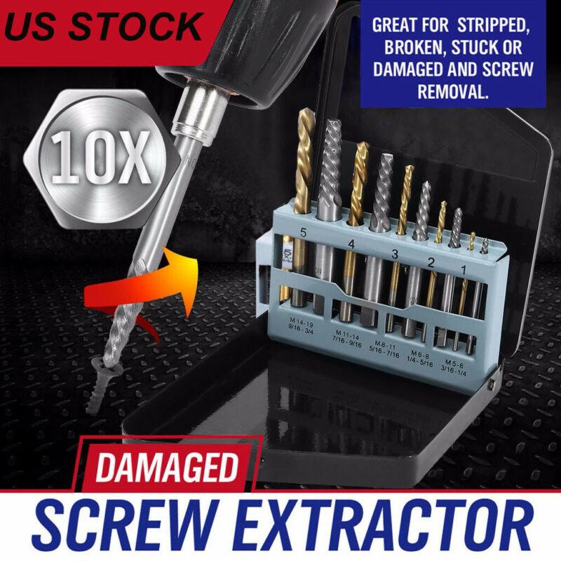 10pc screw extractor left hand cobalt drill