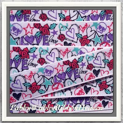 Scribble, Love & Roses Tattoo Fun grosgrain ribbon 4 Bows-5 yrds 7/8