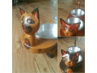 REALLY UNUSUAL FAB HAND-CARVED WOODEN CAT FEEDERS – with Removable Bowls