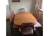 Edvard Valentinsen Danish design teak extending dining table and 8 chairs