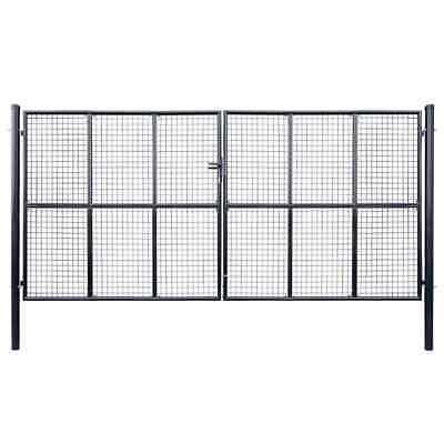 vidaXL Mesh Garden Gate Galvanised Steel 400x200cm Grey Outdoor Fence Door