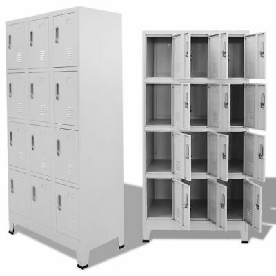 Vidaxl Locker Cabinet W 12 Compartments Wardrobe Office Gym Storage Organizer