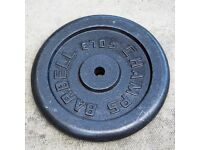Pair of 22.5Kg/50lb black, cast iron weightlifting plates with 5' chrome bar.