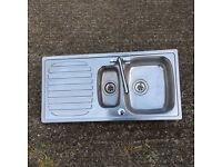 Stainless Steel Kitchen Sink 1 and 3/4 Bowl with mixer tap.
