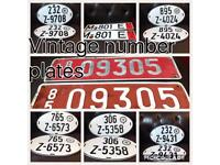 Selection vintage number plates etc