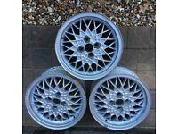 """3 x BBS RA Alloy wheels 15"""" 4x100 ET35 VW Golf GTI"""