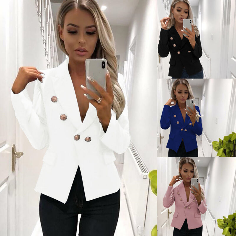 Women Long Sleeve Blazer Open Front Short Cardigan Suit Jacket Work Office Coat