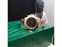 New boxed & bagged rose gold strap black face rolex daytona