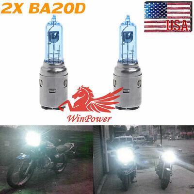 New 2X Motorcycle DC 12V 35W BA20D Headlight Halogen Bulb Xenon White Light US 12v 35w Light Bulb