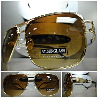 CLASSIC VINTAGE Cool 70's RETRO Style SUNGLASSES SHADES Large Gold Fashion Frame